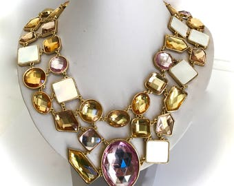 Multi Stone Collar Champagne Gold Pink and Mother Of Pearl Statement Collar Necklace Art Necklace Chunky Necklace