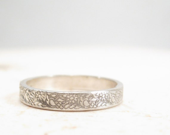 Silver Flower Ring Floral Wedding Band Vintage Inspired