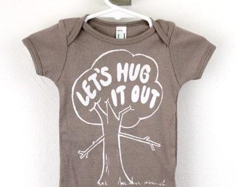 organic baby bodysuit tree hugger print Let's Hug It Out screen printed