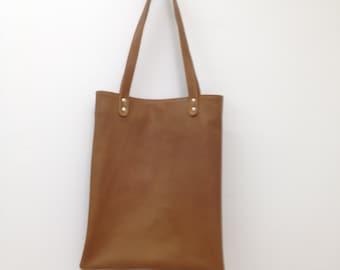 Casual Leather Shopping Bag Tabac Medium Tote OLA Olaccessories Free Shipping