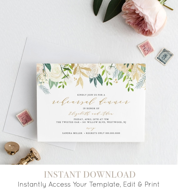 Rehearsal Dinner Invitation, INSTANT DOWNLOAD, Floral Greenery & Gold, Wedding Rehearsal Invite, Printable, Editable Template #021-117RD
