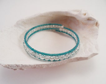 Clear and Teal Memory Wire Bracelet