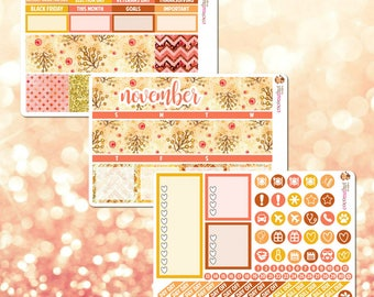 November Monthly Kit, Monthly View Sticker Kit for Erin Condren Life Planner - 107 stickers!