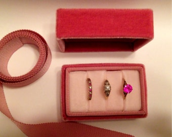 Ring Box Vintage Style Three Ring Holder in Rose Pink Velvet and Matching Ribbon, Special Size Made To Order