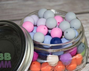 Lot beads silicone 15 mm - food beads - teething necklace - round beads - enough to eat - 10 pieces - bulk