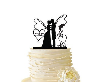 Mr. Mrs. with Bride and Groom - Fishing Poles With Date or Initials  - Standard Acrylic - Wedding - Anniversary - Fishing Cake Topper - 106