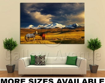 Wall Art Giclee Canvas Picture Print Gallery Wrap Ready to Hang Grazing Horses at Sunset Plateau Ukok 60x40 48x32 36x24 24x16 18x12 3.2