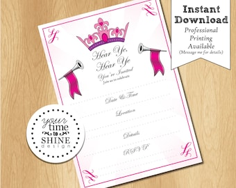 Princess Fill-in-the-Blanks DIGITAL Invitation - INSTANT DOWNLOAD