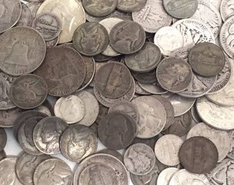 8 OZ(1/2 Lb)(4.00 Face).90/.35(War 5C) Silver US COINs-Prepper Lot-Clearance