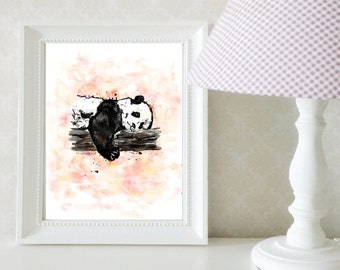 Resting panda illustration / art print / 5x7 or 8x10 inches / kid's bedroom / home decor