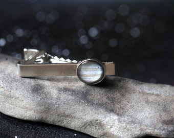Galaxy Space Tie Clip -  Silver or Bronze - Simple Solar System Planet and Nebula Tie Tack - Space Jewelry, Groomsmen Gift, Universe, Men