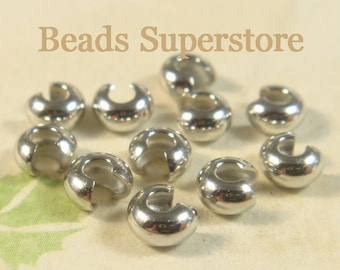 4 mm Platinum-Plated Brass Crimp Bead Cover - Nickel Free and Lead Free - 50 pcs