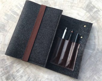 Organizer for calendar-notebook felt & leather, black/brown