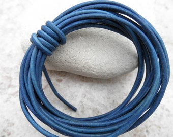 Natural Dye Blue - 1mm Leather Cord - By the Yard