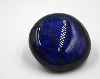 Snap Fused Glass Charm- Round Dichroic Deep Blue