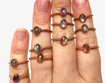 Labradorite Ring /// Labradorite and Copper Electroformed Rings /// Raw Stone Ring /// Stone Ring /// Boho Jewelry