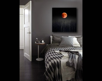 Blood Moon, Large Canvas Art, 16x20 Canvas, Full Moon Nature Photography on Canvas