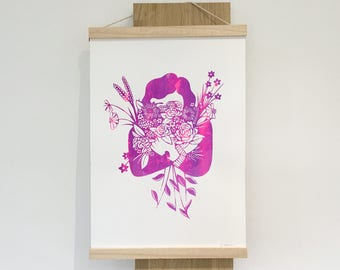Screenprinted Artwork, Original screenprint, Botanical illustration, A3 silkscreen printed poster, Home decor, Bright Wall Art, Moving gift