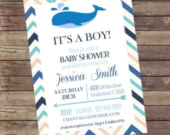 Whale It's a Boy Baby Shower Invitation Digital File