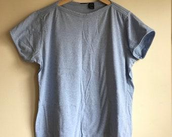 1980s Vintage Baby Blue Boat Neck Short Sleeve Tee Shirt Women's Size XL
