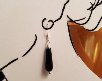 Earrings Black Onyx Drops with Sterling