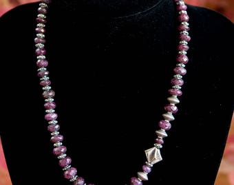 Stunning Faceted Ruby and Hill Tribe Silver Necklace