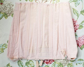 Vintage pink heavy cotton corset girdle with suspenders, Corset with Garter Belt, 1950's Corset