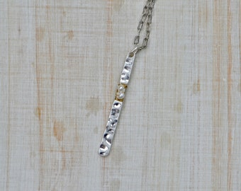 long necklace with bar pendant