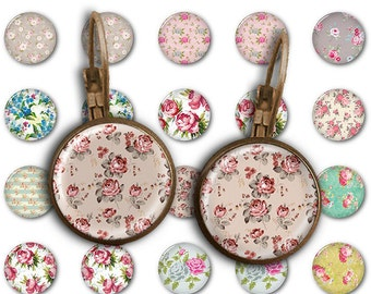 75% OFF SALE Shabby Flowers - 18mm, 16mm, 14mm, 12mm, 10mm Circles Digital Collage Sheets E-005 Printable for Earring, Rings, Jewelry Making