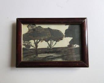30's original ink drawing, landscape signed and framed