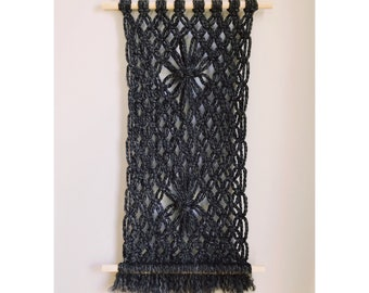 Charcoal Macrame Wall Hanging - One of a Kind