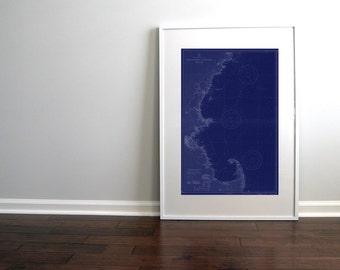 Cape Cod Massachusetts to Cape Elizabeth Maine Nautical Chart Map 1935 Dark Blue DIGITAL PRINT  20 x 30, Map Art Prints, Printable Art, Maps