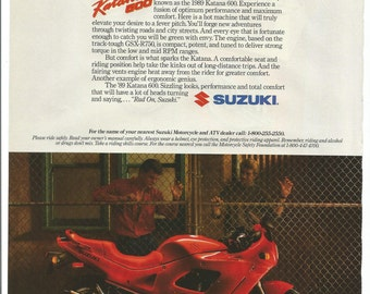 1989 Advertisement Katana 600 Motorcycle Suzuki 80s Rad Hot Red Motorbike Riding Owner Dealership Garage Shop Wall Art Decor