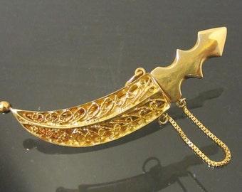 Antique 18K Solid Yellow Gold Sword Dagger in SHEATH Brooch Pendant
