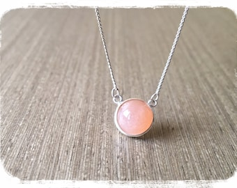 Necklace | Momenti Gift | 925 Sterling Silver | Orange Pink | Moon Stone | Simply Love | Daily Jewelry