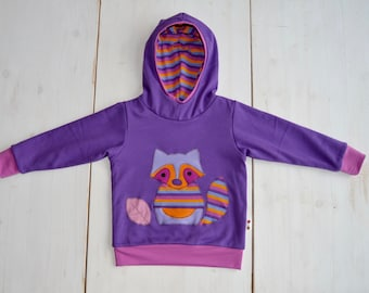 Raccoon hoodie,girl raccoon applique hoodie,raccoon clothing,raccoon clothes-reversible,violet/purple stripes-made to order