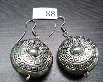 Round Silver Design Earrings
