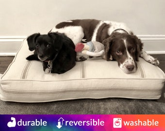 Reproduction Feedsack Dog Bed - Choose your color | Red Stripe, Blue Stripe, Black Stripe, White Stripe | Washable