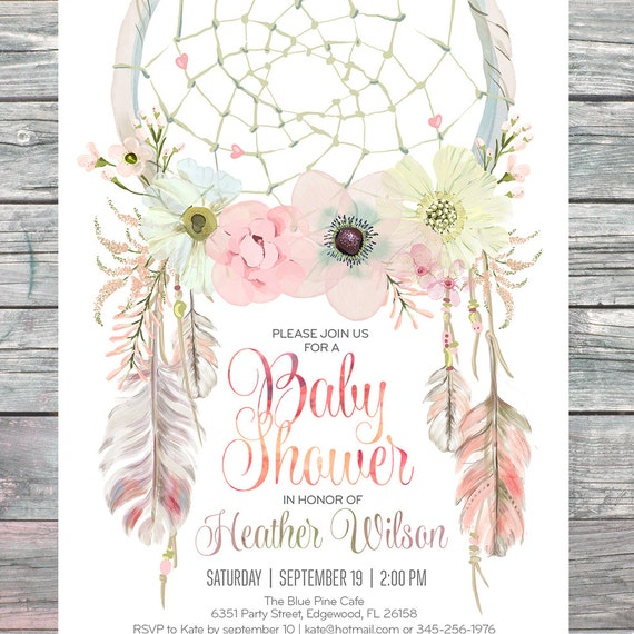Dreamcatcher Boho Baby Shower Invitation Digital Printable Files Feathers Bohemian Dream Catcher Watercolor Girl 002CMP