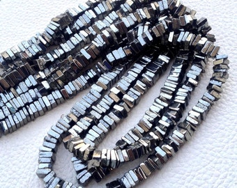 New Arrival,Full 15 Inch Strand, Superb-Quality, PYRITE Square HEISHI Cut Beads,Brand New Stock,5mm size