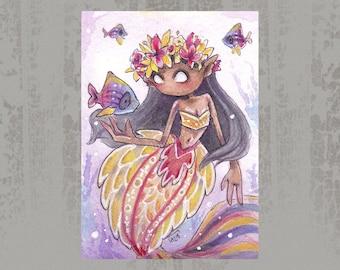 MerMay 2018 Card 25 - Original ACEO, watercolor painting