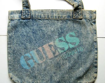 Vintage Guess Denim Tote - 1980's - Georges Marciano, Blue tote, Denim, Large tote bag, Sturdy handles, Open top, Grocery bag, Shopping bag