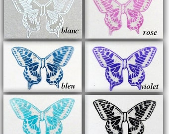 wings transparent butterflies 5 cm silver glitter patterns - Maeva-scrapbooking, card making, figurines, decorative floral, Home Decor made in France