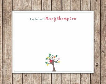 Bird Flat Note Card / Personalized Stationery / Custom Thank You Note Card - Printable