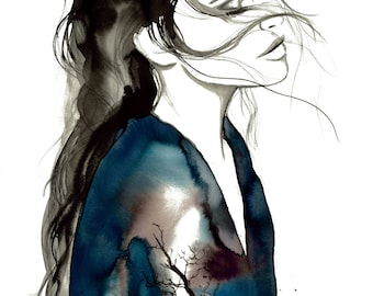 Transfuse, print from original watercolor and mixed media fashion illustration by Jessica Durrant