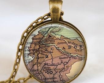 Ecuador map  necklace,  Ecuador South  America map pendant ,  Ecuador glass dome pendant,map jewelry
