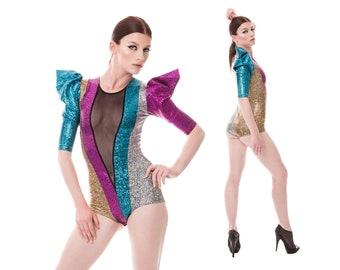 Sample Sale; Rainbow Bodysuit, Festival Playsuit, EDC, Burning Man Outfit, Dance Costume, Leotard, Dancewear, Ravewear, by LENA QUIST
