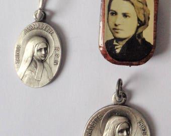 Vintage Religious Medals St. Bernadette