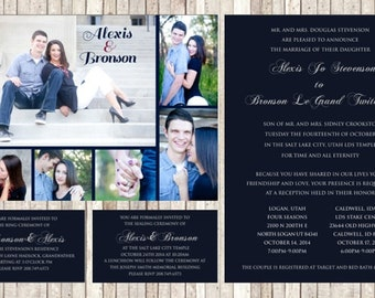 Classic Wedding Invite with Photo Collage on Back