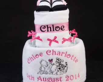 Adorable Personalised Nappy Cake winnie the pooh and friends personalised with your babies name and date of birth blanket bib and socks